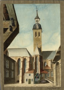 Francis Cohen, Hospital of Nuns, Brussels, 1815, watercolour (Ashmolean Museum, Oxford)