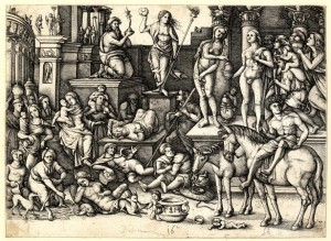 Hieronymus Hopfer, The Power of Love, 1528-63, engraving (Ashmolean Museum, Oxford)