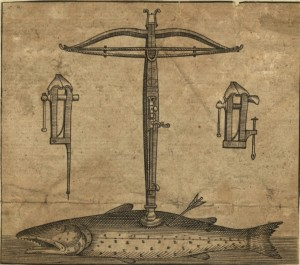 Anonymous, Cross-bow and fish, 17th century, etching (Ashmolean Museum, Oxford)