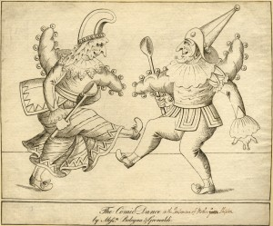 Anonymous, The Comic Dance by Mess.rs Bologna & Grimaldi, c. 1806, etching (Ashmolean Museum, Oxford)