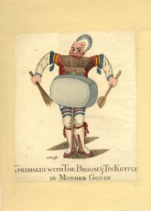 W. O'Keefe, Grimaldi with the Broom & Tin Kettle in Mother Goose, c. 1806, hand-coloured etching (Ashmolean Museum, Oxford)