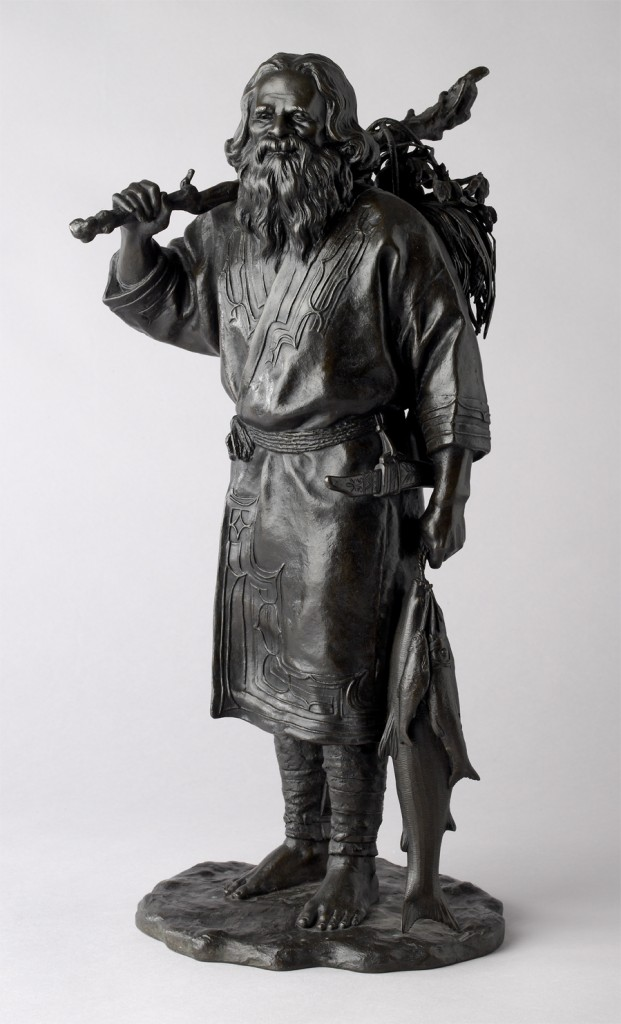 Figure of an Ainu fisherman, Numata Ichiga (Tokyo School), bronze, around 1900, height 48cm, EA2008.8