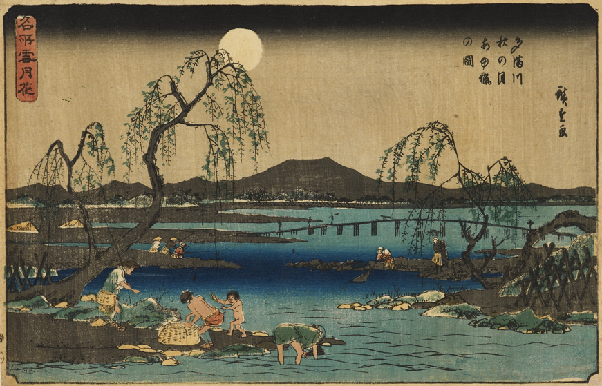 'Fishing for sweetfish on the Tama River in the autumn moonlight', woodblock print, Utagawa Hiroshige I (1844-1848), EAX.4750