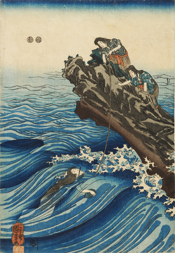 'Ama clutching an abalone shell', woodblock print, Utagawa Kuniyoshi (1849-1853), EAX.5292