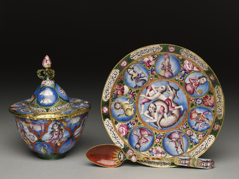 Fig.1 Set with Astrological Decoration, Iran, early 19th century, gold, enamelled. Accepted by HM Government in lieu of Inheritance Tax on the Estate of Basil Robinson and allocated to the Ashmolean Museum, 2009 (EA2009.2-4) © Ashmolean Museum, University of Oxford