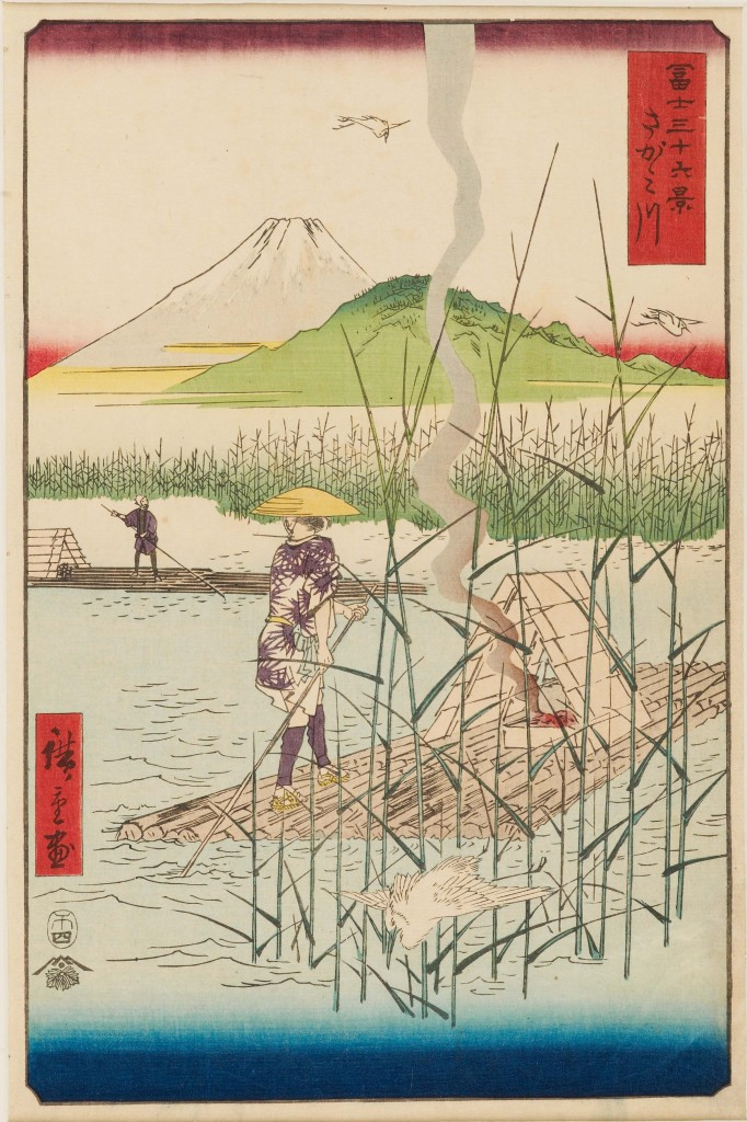The Sagami River (Sagamigawaさがみ川) Series: Thirty-Six Views of Mount Fuji Date: 1858 Colour woodblock print Presented by Mrs Allan and Mr and Mrs H. N. Spalding, 1952 EAX.4384 © Ashmolean Museum, University of Oxford This print is unusual within this series for its focus on human activities, as two men punt log-rafts along the river. Hiroshige has layered multiple visual planes in this composition, starting with the egret and reeds at the front, and ending with Fuji at the back. This device creates a sense of depth in the composition without resorting to Western linear perspective. The column of smoke from the fire divides the print vertically and the unexpected colours evoke a bright spring morning. This print was famously included in the background of van Gogh's 1887 oil portrait of Père Tanguy.