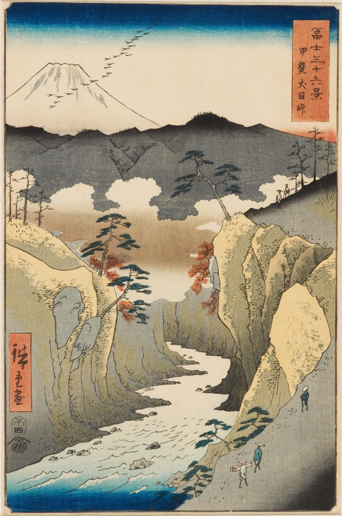 Inume Pass in Kai Province (Kai Inume tōge甲斐犬目峠) Thirty-six Views of Mount Fuji Date: 1858 Colour woodblock print Presented by Mrs Allan and Mr and Mrs H. N. Spalding, EAX.4389 © Ashmolean Museum, University of Oxford Travellers walk along the edge of Inume Pass on a chilly autumn day. A flock of geese flies in front of Mount Fuji, adding to the melancholy autumnal atmosphere. Hiroshige is known to have travelled to this area in the spring of 1841. In his diary he described its awe-inspiring beauty. Hiroshige absorbed a wide range of artistic influences, evident in this work: the fluffy clouds in the ravine and the shading on Mount Fuji are probably influenced by Western copper-plate prints, but the dots on the craggy rocks are more reminiscent of Chinese ink painting.