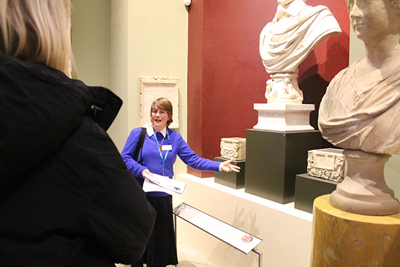 Professor Alison Cooley in the Ashmolean Randolph Gallery