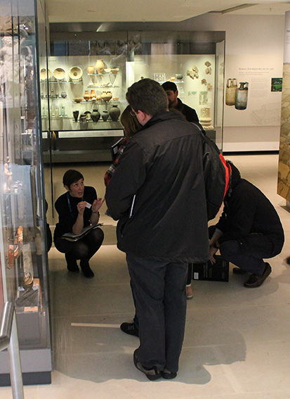 Dr Jane Masséglia, talking about Roman sling bullets and water pipes, in the Rome Gallery.