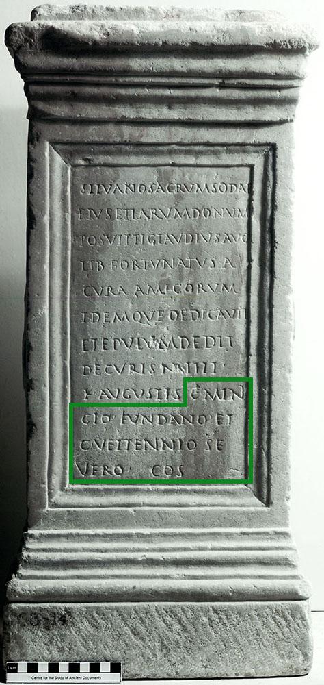 """C(aio)  Mini- cio  Fundano et  C(aio) Vettennio  Se vero  co(n)s(ulibus) """"When Gaius Minicius Fundatus and Gaius Vettennius Severus were consuls"""" Ashmolean ANChandler.3.14"""
