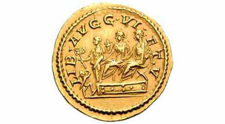 "This golden coin (aureus) was minted in AD 211-2, in the joint reign of the Emperors Caracalla and Geta. It shows the two brothers as consuls, sitting side-by-side in special ""curule"" chairs (a mark of office). This was not a good year for Geta. Click here to read about what happened next."