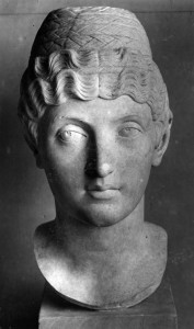 Portrait Bust identified as Domitia Lucilla Minor, mother of Marcus Aurelius. Found near the Forum in Ostia. Mid-second century AD. Vatican Museums, Sala a Croce Greca. Inv. 570.