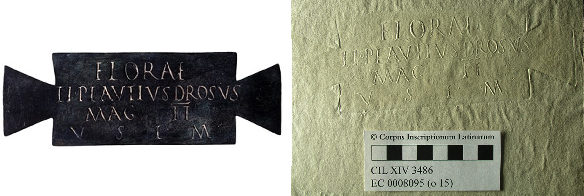 The Terme version of the Flora plaque (inv. 65029), and a 'squeeze' (paper impression) of the Naples version (inv. 2570)