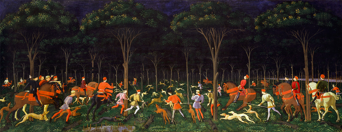 The Hunt in the Forest by Uccello, at the Ashmolean Museum
